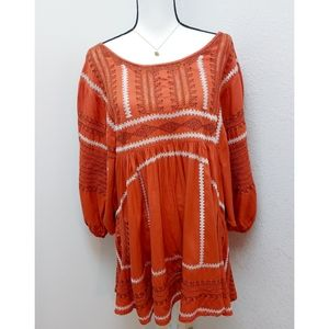 Free People Tunic Orange Embroidered Flowy Top